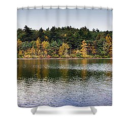 Walden Pond Panorama I Shower Curtain by Thomas Marchessault