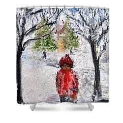 Shower Curtain featuring the painting Walking Alone by Evelina Popilian