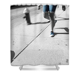 Walking Blues Shower Curtain by Karol Livote