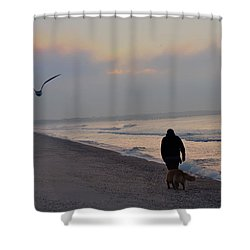 Walking On The Beach - Cape May Shower Curtain by Bill Cannon
