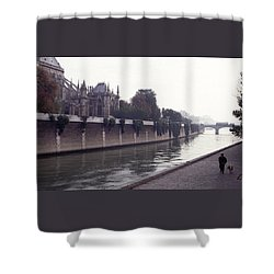 Walking The Dog Along The Seine Shower Curtain by Tom Wurl