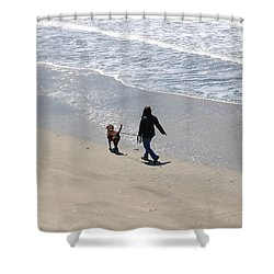Walking The Dog Shower Curtain by Carolyn Donnell
