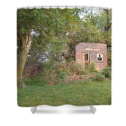 Shower Curtain featuring the photograph Walnut Grove School Ruins by Bonfire Photography
