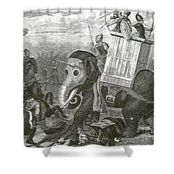 War Elephant Shower Curtain by Photo Researchers