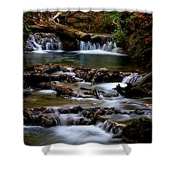 Warm Springs Shower Curtain by Karen Harrison