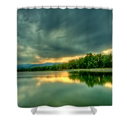 Warren Lake At Sunset Shower Curtain by Anthony Doudt