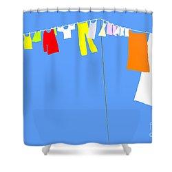 Shower Curtain featuring the digital art Washing Line Simplified Edition by Barbara Moignard