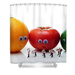 Watching Festival Parade Shower Curtain by Paul Ge