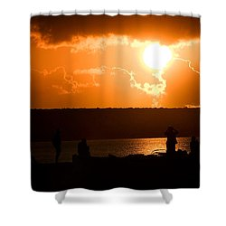 Watching Sunset Shower Curtain by Yew Kwang