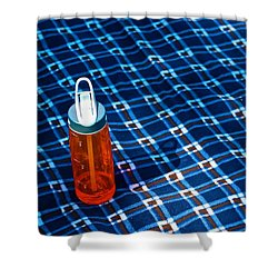 Water Bottle On A Blanket Shower Curtain by Eric Tressler