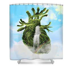 Water From The Heart Shower Curtain by Mo T