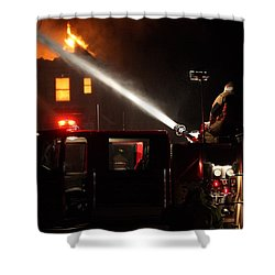 Water On The Fire From Pumper Truck Shower Curtain