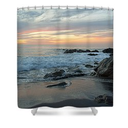 Water Washing Up On The Beach Shower Curtain by Keith Levit