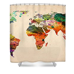 Watercolor World Map  Shower Curtain by Mark Ashkenazi
