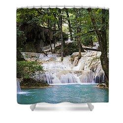 Waterfall In Deep Forest Shower Curtain by Setsiri Silapasuwanchai