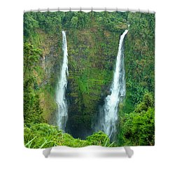 Shower Curtain featuring the photograph waterfall in Laos by Luciano Mortula