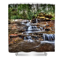 Waterfall On Small Creek Going Into The Big Sandy River Shower Curtain by Dan Friend