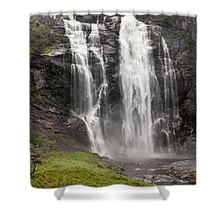 Waterfalls Over A Cliff Norway Shower Curtain by Keith Levit