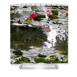 Shower Curtain featuring the digital art Waterlilies by Victoria Harrington