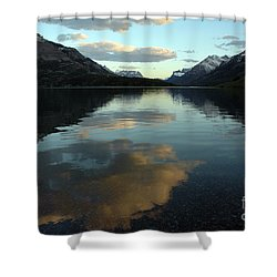 Shower Curtain featuring the photograph Waterton Lake Sunset Canada by Vivian Christopher