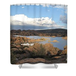Watson Lake 2 Shower Curtain by Diane Greco-Lesser
