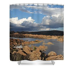Watson Lake 3  Shower Curtain by Diane Greco-Lesser