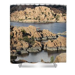 Watson Lake 4  Shower Curtain by Diane Greco-Lesser