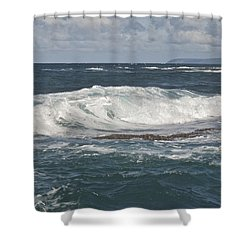 Waves Breaking 7952 Shower Curtain by Michael Peychich