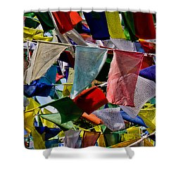 Shower Curtain featuring the photograph Waving Prayer Flags by Don Schwartz