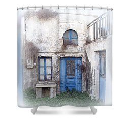 Weathered Greek Building Shower Curtain by Carla Parris