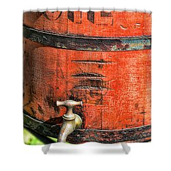 Weathered Red Oil Bucket Shower Curtain by Paul Ward