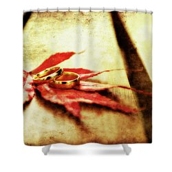 Wedding Rings On Red Shower Curtain by Meirion Matthias