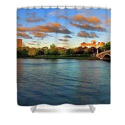 Weeks' Bridge Panorama Shower Curtain by Rick Berk