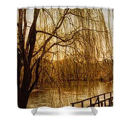 Weeping Willow And Bridge Shower Curtain