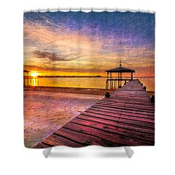 Welcome The Morning Shower Curtain by Debra and Dave Vanderlaan