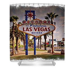 Welcome To Las Vegas Sign Series Impressions Shower Curtain by Ricky Barnard