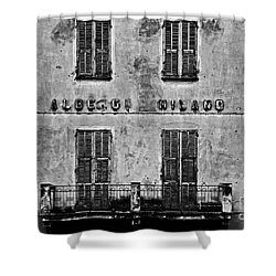 Shower Curtain featuring the photograph Welcome To The Hotel Milano by Andy Prendy