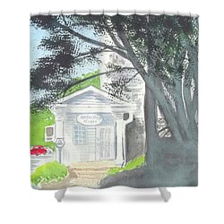 Shower Curtain featuring the painting Wellers Carriage House 1 by Yoshiko Mishina