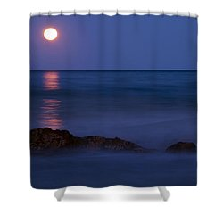 Wells Beach Maine Moonrise Shower Curtain