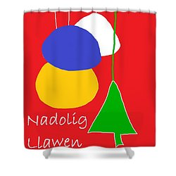 Welsh Christmas Card Shower Curtain by Barbara Moignard