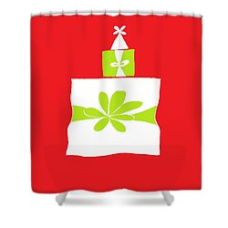 Shower Curtain featuring the digital art Welsh Merry Christmas Red by Barbara Moignard