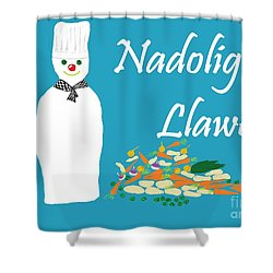 Shower Curtain featuring the digital art Welsh Snowman Chef by Barbara Moignard