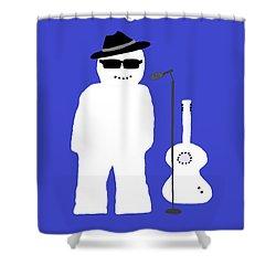 Shower Curtain featuring the digital art Welsh Snowman Musician by Barbara Moignard