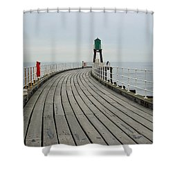 West Pier And Beacon Shower Curtain by Rod Johnson