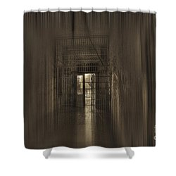 West Virginia Penitentiary Hallway Out Shower Curtain by Dan Friend