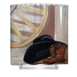 Western Art Work For Luke Shower Curtain by Margaret Harmon