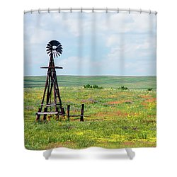 Western Kansas Wooden Windmill  Shower Curtain by Michael Flood