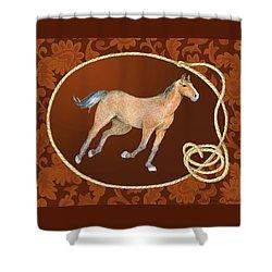 Western Roundup Running Horse Shower Curtain