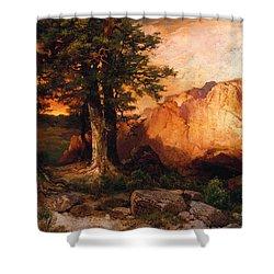 Western Sunset Shower Curtain by Thomas Moran