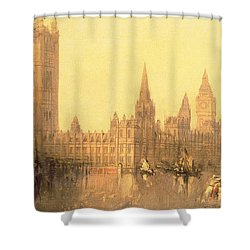 Westminster Houses Of Parliament Shower Curtain by David Roberts